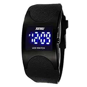 SKMEI–Montre LED numérique électronique, de sport, pour enfant, imperméable, avec sangle en silicone, couleur noir