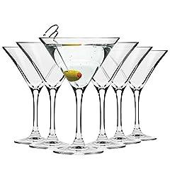 Idea Regalo - Krosno Bicchieri Cocktail Martini Bar Vetro Coppa | Set di 6 | 150 ML | Elite Collection | Ideale per la casa, Ristorante Feste e Ricevimenti | Adatto alla Lavastoviglie e Forno a Microonde