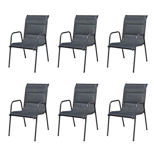 vidaXL 6X Chaise de Salle à Manger d'Extérieur Noir Chaise de Jardin Terrasse