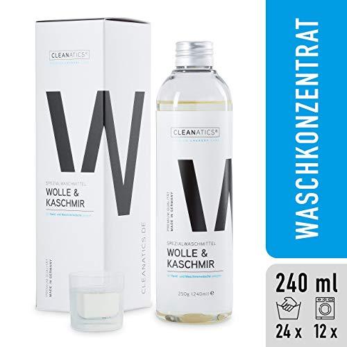 CLEANATICS Wolle & Kaschmir Intensivpflege mit Lanolin - Feinwaschmittel mit rückfettender Wirkung - Waschmittel Konzentrat für Cashmere, Wollwalk, Schurwolle & Merino Pullover, Schal, Socken (250 g)