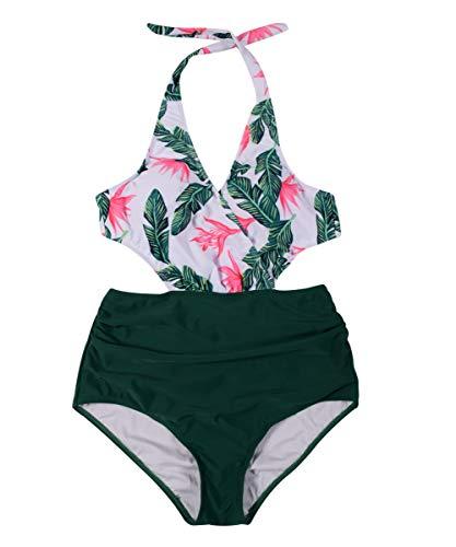 Retro Bademode Frauen Damen Bikini Set Blumen Rückenfrei Bademode Strandkleidung Grün Badeanzug Hohe Taille Bikini Floral Shape Badeanzug Damen L - 6