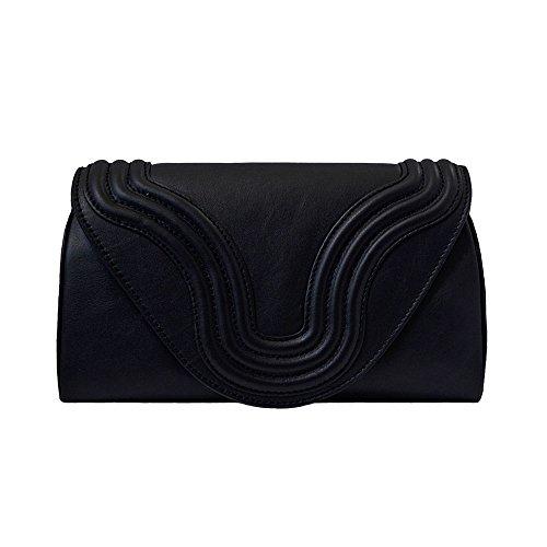 """BORGENNI borsa da donna tipo pochette a tracolla pochette piccola in vera pelle con tracolla, """"La Sei"""" nera"""