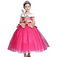 d52c24b3c6 OBEEII Mädchen Dornröschen Aurora Kostüm Kinder Sleeping Beauty Prinzessin  Tutu Kleid Karneval Cosplay Party Festkleid 4