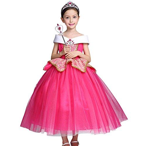 röschen Aurora Kostüm Kinder Sleeping Beauty Prinzessin Tutu Kleid Grimms Märchen Verkleidung Faschingskostüm Karneval Cosplay Party Halloween Festkleid 4-5 Jahre ()