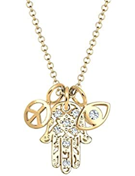 Elli Damen-Kette mit Anhänger Hamsa Hand Peace-Zeichen Evil Eye 925 Silber vergoldet weiß Facettenschliff Swarovski...