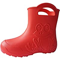SAPRO SYSTEM Frog Coral Kids Boys Girls Wellies Rain Boots Warm Fleece-Lined Light Unisex Children Wellington Boots PVC-Free EVA (UK: 10/11 Child EU: 28/29)
