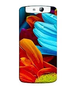 PrintVisa Designer Back Case Cover for Oppo N1 (Blue Pattern Design Beauty Fresh Abstract Illustration Botany)