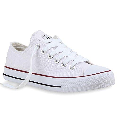 Stiefelparadies Damen Schuhe Sneakers Sportschuhe Schnürer Schuhe 25997 Weiss Rotstreifen Ambler 43 - Herr White Kostüm