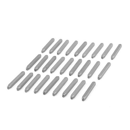 DealMux 6mm x 6mm Zylinderschaft 3 mm Stahl Brief Stamping Maker Briefmarken Set-Silber-Ton 27 in 1 -