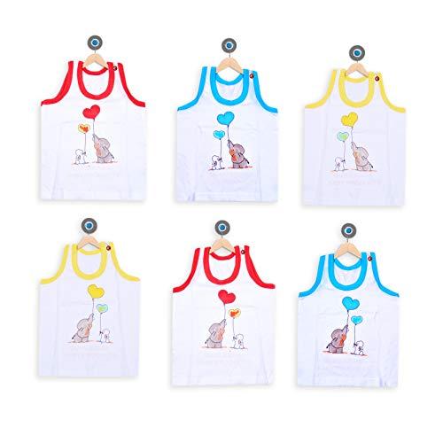 GURU KRIPA BABY PRODUCTS Products Presents Born Baby Kids Inner Wear Baniyan Unisex Printed Cotton Baby Sando Vest 100% Cotton Housiry with Cartoon Print Brief White