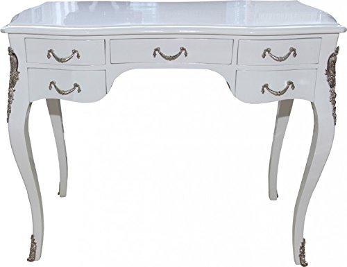Casa Padrino Luxus Barock Schreibtisch Weiß Hochglanz/Silber 100 x 80 x 58 cm - Sekretär Luxus Möbel