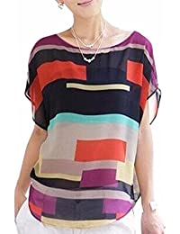 Playa de la blusa de las mujeres irregulares de varios colores de camisa de cuello redondo de la gasa de las rayas