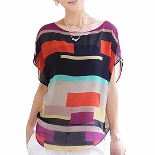 Frauen-Strand unregelmäßigen Multi-Farben-Streifen Chiffon Rundhals T-Hemd Bluse (Hemd Multi Gestreiften Farbe)