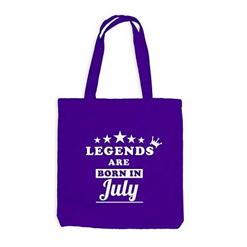 Jutebeutel - Legends are born in July - Birthday Gift Violett