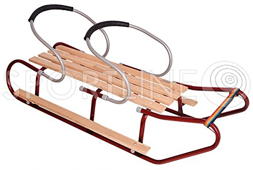 Holzschlitten Schlitten Kinderschlitte mit Lehne für Kinder Winter Spaß DUO MAX2
