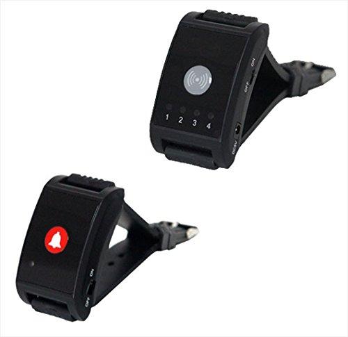 Pflegeruf Set für Seniorenpaar mit Quittierungsfunktion, drahtlos: 1 x Armband-Ruf-Empfänger ZJ-41L + 1 x Armband-Ruf-Sender YK200-1C. Hauspflege. Kabellos, Reichweite- ca.100 m