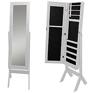 Schmuckschrank mit Spiegel 159x37x40cm Holz Spiegelschrank Schmuckkasten Standspiegel Schmuckkommode Schmuck Spiegel Weiß