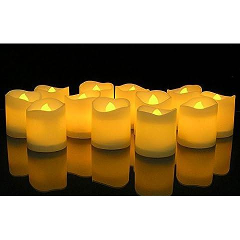 KOBWA Set Di 12 Candele Senza Fiamma Candele Tremolanti LED Batteria Operata Senza Fiamma Te' Luce Per Decorazione Di Natale,Festa - Accenti Fumo