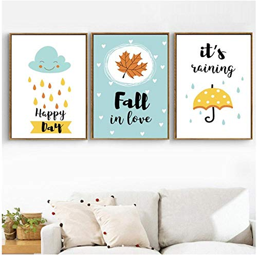 Cloud Umbrella Maple Leaf Quotes Wall at Canvas Painting Cartoon Nordic Posters And Prints Wall Pictures For Kids Room Decor-40X60Cmx3 Pcs Sin marco