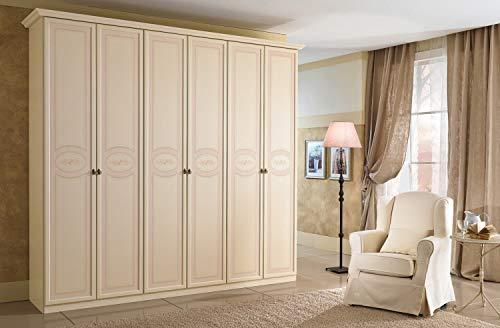 Zucca mobili armadio classico 6 ante h.248 patinato beige con decori