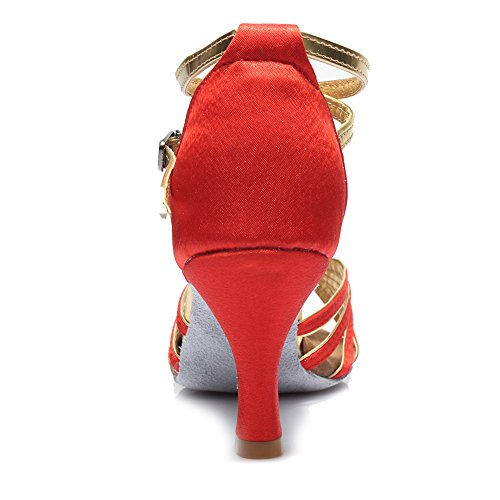 Scarpe Da Ballo Hippose Da Ballo / Scarpe Da Ballo Latino Satinato Standard / Scarpe Da Ballo Da Donna, De217 7cm Rosso