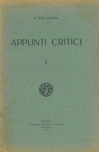 Appunti critici. I.