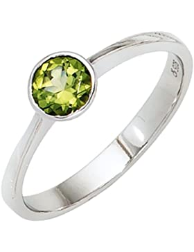 925 Sterling Damen Silber Ring mit Peridot Ringweite: 54 - B 5,80 mm - T 4,30 mm
