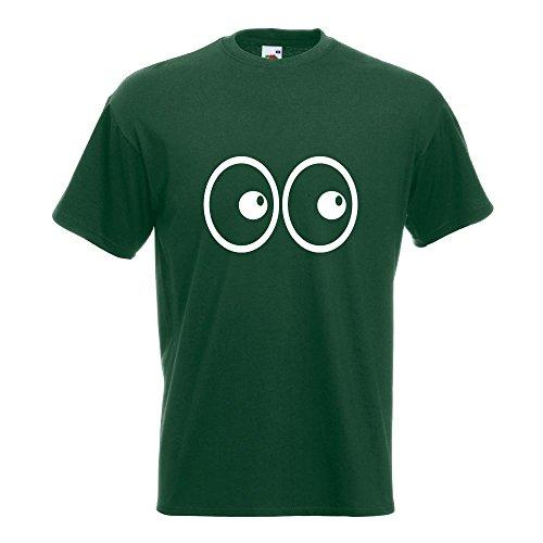 KIWISTAR - Roll Augen T-Shirt in 15 verschiedenen Farben - Herren Funshirt bedruckt Design Sprüche Spruch Motive Oberteil Baumwolle Print Größe S M L XL XXL Flaschengruen