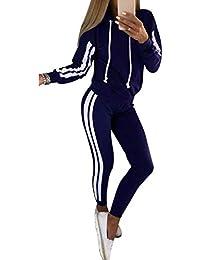 Yying Casaul Chándal Mujer 2 Piezas Set Top y Pantalones de Raso de Rayas Patchwork Sexy Sudadera Sweat Suit