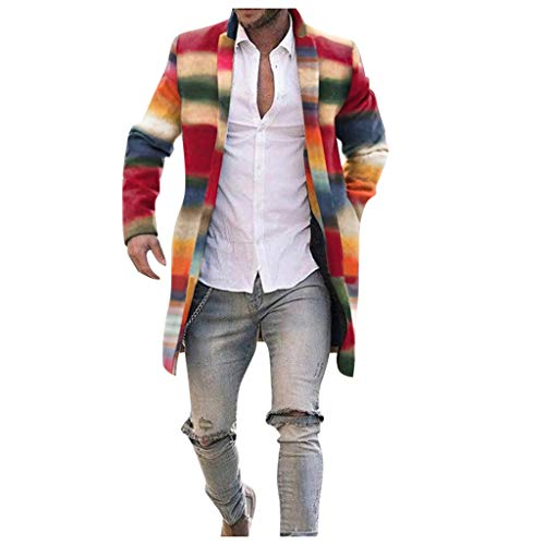 Azruma Herren Winter Slim Fit Wollmantel Business Überzieher Schlank Lange Windbreaker Jacken Bunt Knopf Lässige Strickjacke Mantel