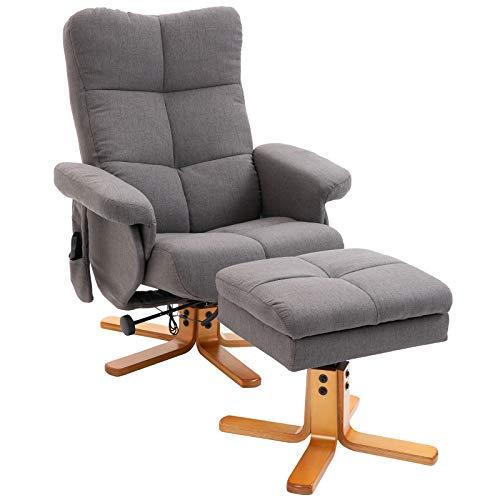 HOMCOM Massagesessel mit Fußhocker Relaxsessel Heizfunktion TV Sessel Polyester Grau 145° Neigung 80 x 86 x 99 cm