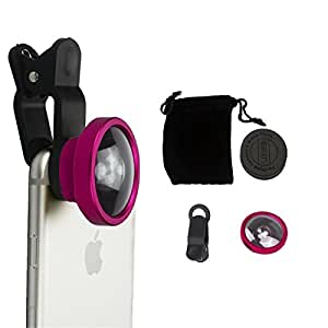 Peres®0.4x Universal Super Wide Angle Camera Lens Clip On Kit for iPhone 6 Plus/6S/6, iPad Air 2/1, iPad , Samsung Galaxy S6 , Galaxy Note 4/3, Sony, Motorola Droid and Other Smart Phones (Rose Red)