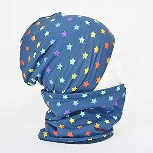 Fleece Loop Schal u Mütze SET Sterne dunkelblau bunt Mädchen unisex Junge für 4-5 - 6-7 - 8 Jahre