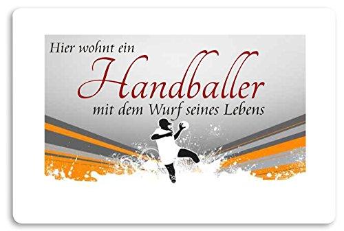""""""" Hier wohnt ein Handballer """" Fussmatte bedruckt Türmatte Innenmatte Schmutzmatte lustige Motivfussmatte"""