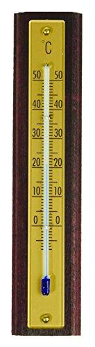 1Thermometer Innen 18cm Holz Mahagoni Gold ()