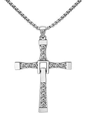 Halskette mit Fast And Furious 7 Kreuz Anhanger,925 Sterlingsilber mit Cubic Zirconia