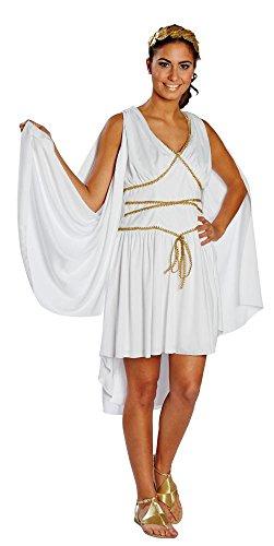 Rubies Griechische Göttin mit Lorbeerkranz, Größe 44, weißes Kleid mit goldfarbenen Applikationen, Erwachsenen Kostüm, (Kostüme Ruby Erwachsene Göttin)