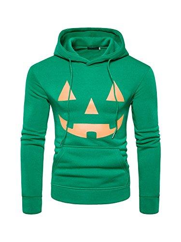 Kürbis Gesichter Ausschnitte Für Halloween (CLOCOLOR Herren Sweatshirt Kapuzenpullover Langarm Pullover Halloween Kürbis Gesicht Pullover Grün)