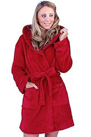 Womens Corail Polaire Super Doux Chaude Costume Capuche - Rouge, Femme, Taille M - EU 40-42