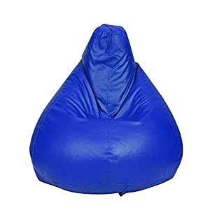 Story@Home XL Leatherite Single Seating Tear Drop Bean Bag Chair Cover Without Filler, Blue
