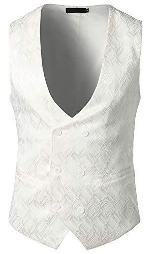 WHATLEES Herren Enge Anzugweste aus Jacquard Smoking mit glitzerndem Paisley Muster BA0135-white-XL