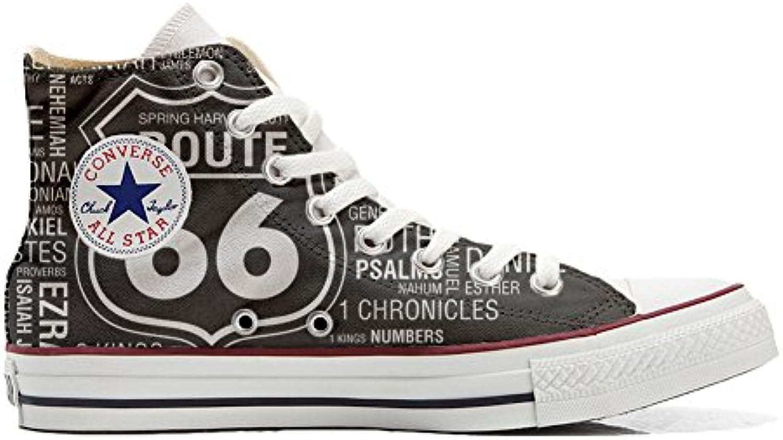 mys Converse All Star Customized Unisex   Personalisierte Schuhe (Handwerk Produkt) Route 66 Black   Size EU 46