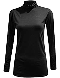 2ff58185932 NEW WOMEN LADIES PLAIN POLO TURTLE NECK STRETCH LONG SLEEVE TOP JUMPER SIZE  8-26