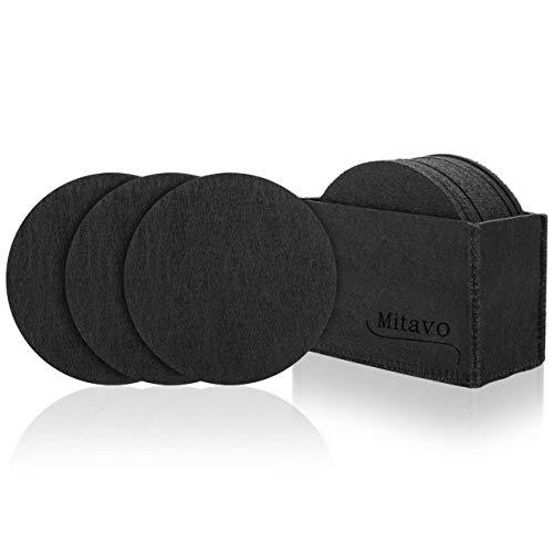 Mitavo - Set da 10 sottobicchieri in feltro rotondi, con scatola, sottobicchieri per bevande, bicchieri, tazze, colore: nero
