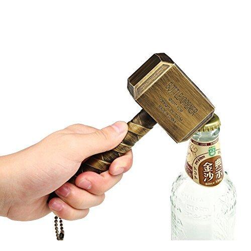 Thor Hammer Flaschenöffner | Bieröffner Groß Ideal als Geschenk - Bar Bieröffner Wein mjölnir Bayram® Kapselheber (Gold)