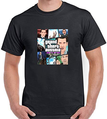 T Shirt: GTA Österreich/Grand Theft Austria. Politische Parodie. (XL, schwarz)