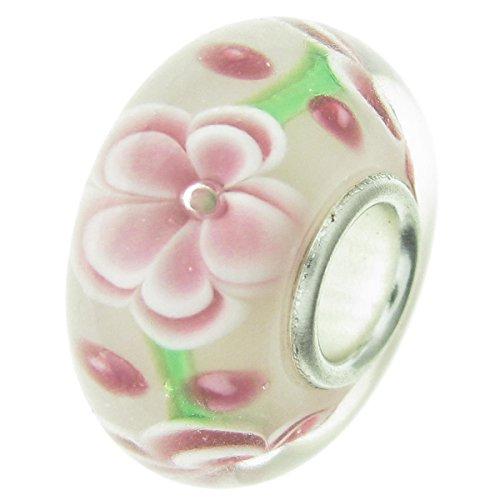925sterling silver spring rosa fiore rotondo di vetro per braccialetti europei