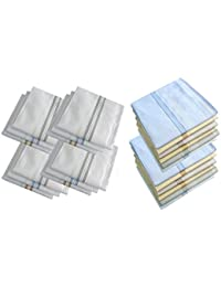 S4S Men's 100% Cotton Premium Collection Handkerchiefs - Pack of 24 (White Striped & Multicolour_46X46 CM)