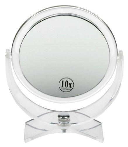 Fantasia - Miroir grossissant double face ( x 10 et x 1) sur pied - Acrylique - Hauteur: 21 cm, ø 17 cm