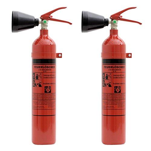 Feuerlöscher 2x 2kg CO2 Kohlendioxid EDV geeignet DIN EN 3 inkl. ANDRIS® Prüfnachweis mit Jahresmarke ISO-Symbolschild &. 'für EDV' Textschild